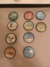 LOT OF 16 BLUE & BLACK  JELLO AIRPLANE COINS. 5 TRANSPORTS 11 BOMBERS  NMT.