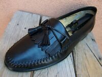 SANTONI Mens Dress Shoes Black Casual Slip On Italian Tassel Loafers Sz Size 11D