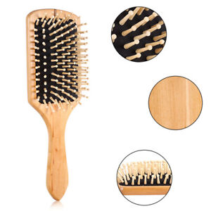 Wood Natural Paddle Brush Wooden Hair Care Spa Massage-Large Comb M6Y4