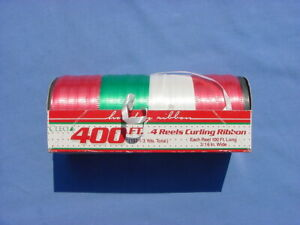 VINTAGE 400 FT 4 REELS CHRISTMAS/HOLIDAY CURLING RIBBON RED/GREEN/WHITE