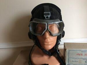Superb condition Russian soviet MIG FIGHTER PILOT flight helmet and goggles war