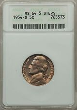 1954-S 5C MS64 Five Full Steps ANACS Jefferson Nickel elusive date with steps!