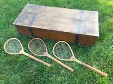 Feltham Alexandra Lopsided 1880's Antique Lawn Tennis Racquets with Feltham Box