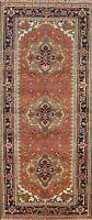 Geometric Heriz Serapi Oriental Runner Rug Wool Hand-knotted Hallway Carpet 3x8