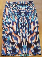 New With Tags! Marks & Spencer Collection Stretch Midi Skirt Blue Mix Sz10-beach