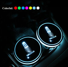 2x Colorful LED Car Cup Holder Pad Mat Interior Atmosphere Lights For Lincoln