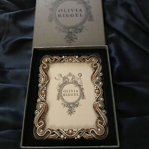 """Olivia Riegel Multi Color Crystals & Faux Pearl Brass Photo Frame 8.5""""x 6.5"""""""