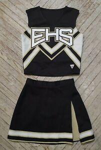 Real Genuine High School Varsity Cheer Black White Gold EHS Cheerleading Uniform