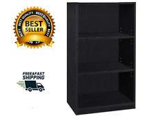 Adjustable 3-Tier Shelf Black Bookcase Simple Home Furniture Books Easy Assembly