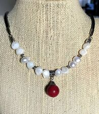 Flat-Sided White Pearls and Red Sponge Sea Coral (Dyed) Pendant Necklace USA
