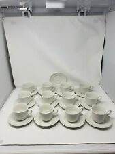 Johnson Brothers Richmond White 12 Coffee/Tea Cups W/Saucers Embossed Trellis
