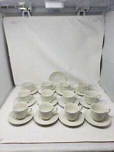 Johnson Brothers Richmond White 12 Coffee/Tea Cups W/Saucers Embossed Trellis