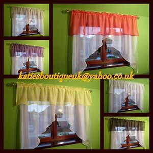 Beautiful White Voile Net Curtain with Various Colours Pelmet
