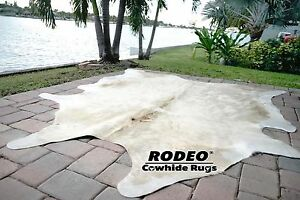 Extra Large Superior quality Brazil Cowhide Rug Champagne & Beige Size apx 7X8
