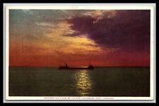 ONTARIO CANADA SUNSET ON LAKE ST CLAIR STEAMSHIP POSTCARD 852