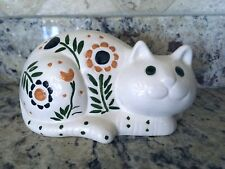 Beautiful Vintage 1975 Signed Ceramic painted Cat Statue #B18