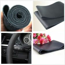 Genuine Leather Black 38cm DIY Car Steering Wheel Cover With Needles and Thread