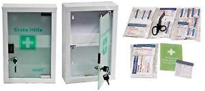 kleiner Erste- Hilfe- Schrank weiß mit Glastür leer - mit Füllung DIN 13157