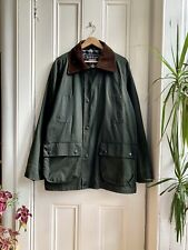 Vintage Countryside Green Wax Waxed Cotton Chore Work Cord Collar Coat Jacket L