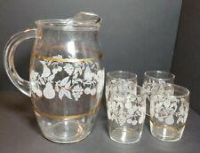 "Vintage Glass 7 1/2""  Pitcher & Four 3"" Juice Glasses Etched Glass Gold Trim"