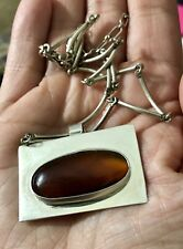 Modernist Sterling Silver Carnelian Pendant On Carolyn Pollack Silver 925 Chain