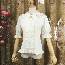 Women Short Sleeve Lolita Blouse Chiffon Lace Ruffle Lace Retro Lolita Shirt