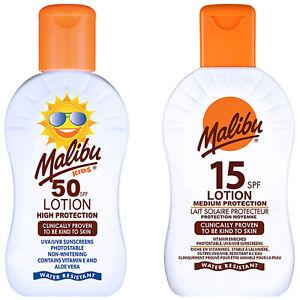 Malibu Sun Care SPF10 15 30 50 Cream Tan Lotion Spray Oil UV Protection Aftersun