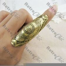 BIG AZTEC BENT KNUCKLE armour RING tribal VINTAGE BRASS/ANTIQUE SILVER TONE P/Q