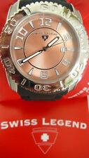 NEW Swiss Legend Men's Commander Rose Dial Black Rubber Wristwatch