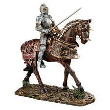 "14"" Intricate Armor Red Warrior Knight on Charging Horse Museum Replica Statue"