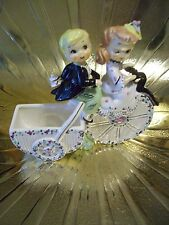 "VTG Lefton ""Belle & Beau Bicyclers"" Winking Girl Boy Pink Planter Figurine MINT"