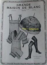 PUBLICITE LA GRANDE MAISON DE BLANC OMBRELLE BAS LINGERIE DE 1914 FRENCH AD PUB