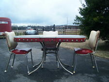Vintage Retro Formica Chrome Diner Kitchen Table Cracked Ice w/ 3 chairs 1950's