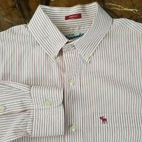 Abercrombie & Fitch Men's Large Muscle Multi-Color Striped Long Sleeve Shirt