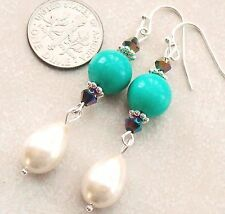"Drop Pearl Genuine Turquoise & Crystal Pierced Dangle Earrings 2.3"""