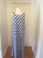 NWT Blue & White Azure Rafaella Maxi Dress W/ Geometric Print Size XL