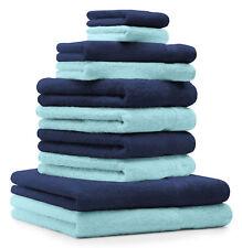 Betz Juego de 10 toallas CLASSIC 100% algodón de color azul marino y turquesa