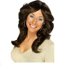 Womens 70/80s Flick Wig Brown Charlie's Angel Fancy Dress Night Pop Icon Star