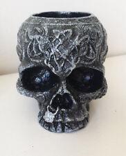 Silver Skull Tea light Candle Holder Gothic Twilight Celtic  Ornament - Handmade