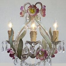 ITALY TOLE Crystal prisms Flower Garden style 4 light Chandelier cream plug opt