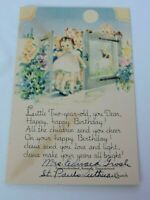 Vintage Postcard Child's Girls Second Birthday Greeting Baby Toddler Religious