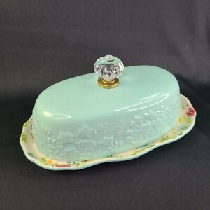 The Pioneer Woman Floral Butter Dish Kari Turquoise Blue Faux Glass Finial Knob