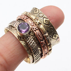 Amethyst Quartrz Gold Plated Spinner Ring US 9.5 Gemstone Jewelry W11385