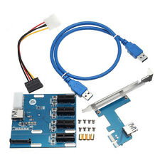 PCI-E Slot Expansion Kit 1 to 4 Ports Switch Multiplier Hub Riser Card USB Cable