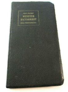 Vest Pocket Webster DICTIONARY-LEATHER-states & their meanings,-spelling