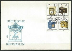 Germany (East) DDR GDR 1985 FDC Historic Letter Boxes Block of 4