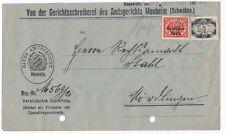 51 / 5 Mark Dienstmarke u.a. auf Gerichtszustellung 1922 - portogerecht - selten