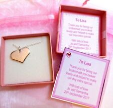 Silver Heart Necklace Bridesmaid Flower Girl Gift in Gift Box & Bag Birthday