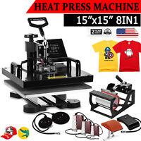 "15""x15"" 8 IN 1 Combo T-Shirt Heat Press Transfer Machine Sublimation Swing Away"