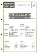 ITT Original Service Manual Autoradio TS 406 automatic /12 V